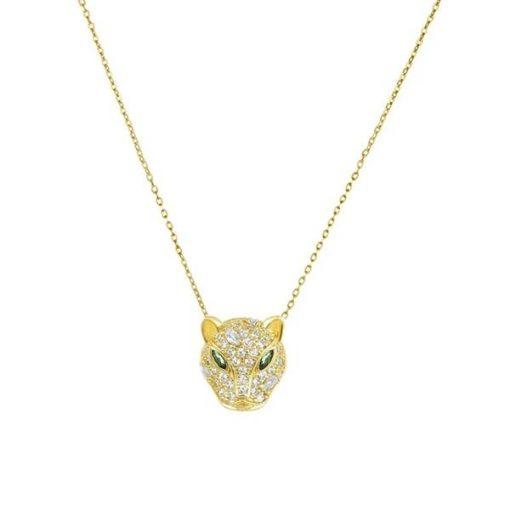 Precioso colgante Puma Diamante Blanco Oro. Colgante dorado con charm en forma de puma y cadena hecho en oro 18k.