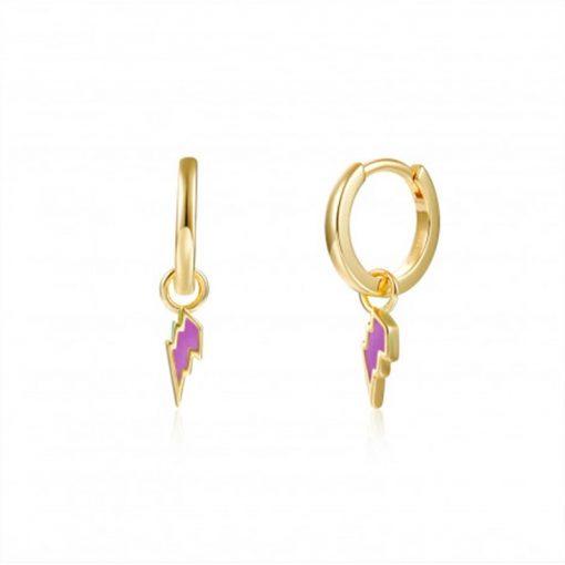 Pendientes Aro Rayo Lila Oro. Aros dorados de plata de ley chapada en oro 18 k con charm colgante de rayo esmaltado en color lila.