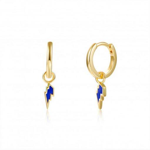 Pendientes Aro Rayo azul Oro. Aros dorados de plata de ley chapada en oro 18 k con charm colgante de rayo esmaltado en color azul.