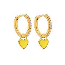 Pendientes Aro Corazón Amarillo Oro ideales. Aros dorados con piedras circonitas y charm colgante en forma de corazón amarillo.