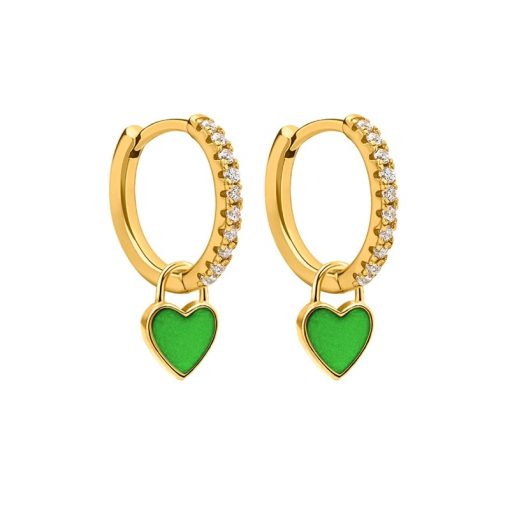Pendientes Aro Corazón Verde Oro ideales. Aros dorados con piedras circonitas y charm colgante en forma de corazón amarillo.