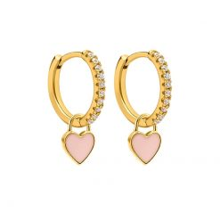 Pendientes Aro Corazón Rosita Oro ideales. Aros dorados con piedras circonitas y charm colgante en forma de corazón rosa claro.