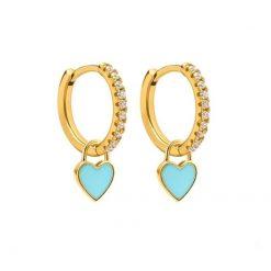 Pendientes Aro Corazón Celeste Oro ideales. Aros dorados con piedras circonitas y charm colgante en forma de corazón azul claro.