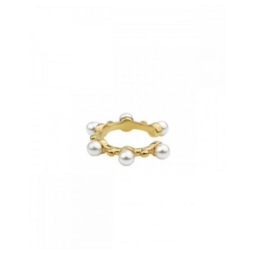 Pendiente Ear Cuff Perlas Oro 18 k. Un pendiente Ear Cuff dorado con perlas pequeñas para piercing sin agujero.