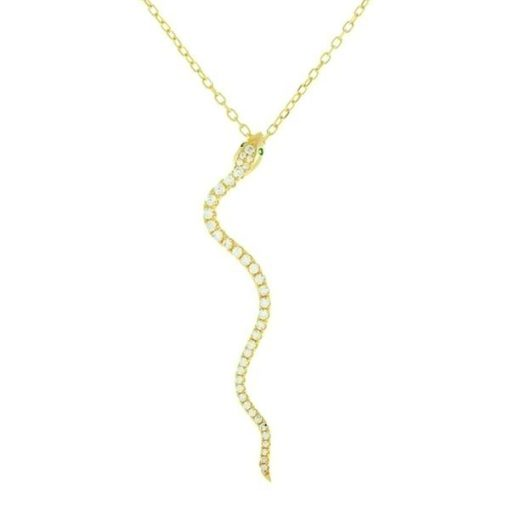 Colgante Serpiente Brillantes oro. Cadena dorada fina con charm colgante en forma de serpiente. Plata de ley bañada en oro 18 k con circonita.