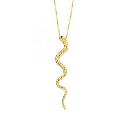 Colgante serpiente oro.Cadena dorada fina con charm colgante en forma de serpiente en plata de ley bañada en oro 18 k.