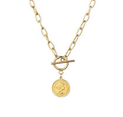 Collar Cadena Moneda Dorado. Collar de cadena dorado de eslabones y colgante de moneda. Collar cadena mujer en color oro con charm moneda.