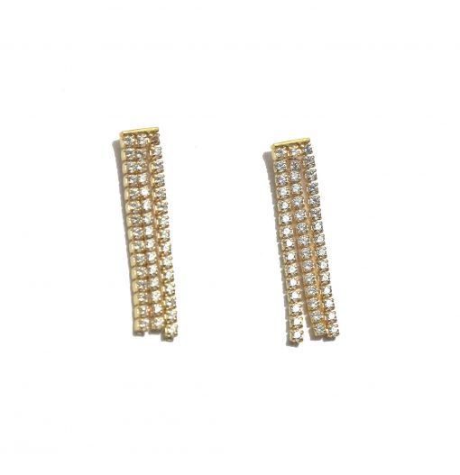 Pendientes Borla Oro son un cañón de luz. Pendientes largos de boda y fiesta en oro con diamantes. Delicados y elegantes.