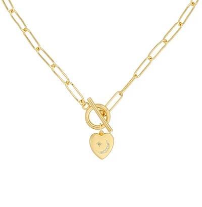 Colgante Corazón Brillante Oro. Colgante de cadena dorado mujer con charm en forma de corazón con pequeño brillante. Hecho en oro.