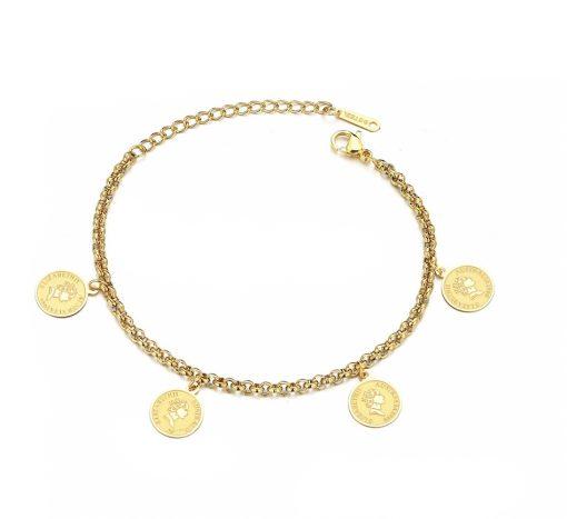 Pulseras con monedas en dorado y plateado. Pulsera y charms realizados en acero inoxidable en color oro o plata.