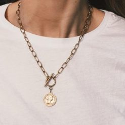 Collar cadena moneda oro dorado